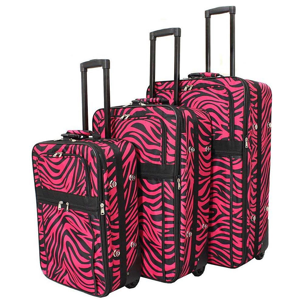World Traveler Zebra 3-Piece Expandable Upright Luggage Set Fuchsia Black Zebra - World Traveler Luggage Sets - Luggage, Luggage Sets