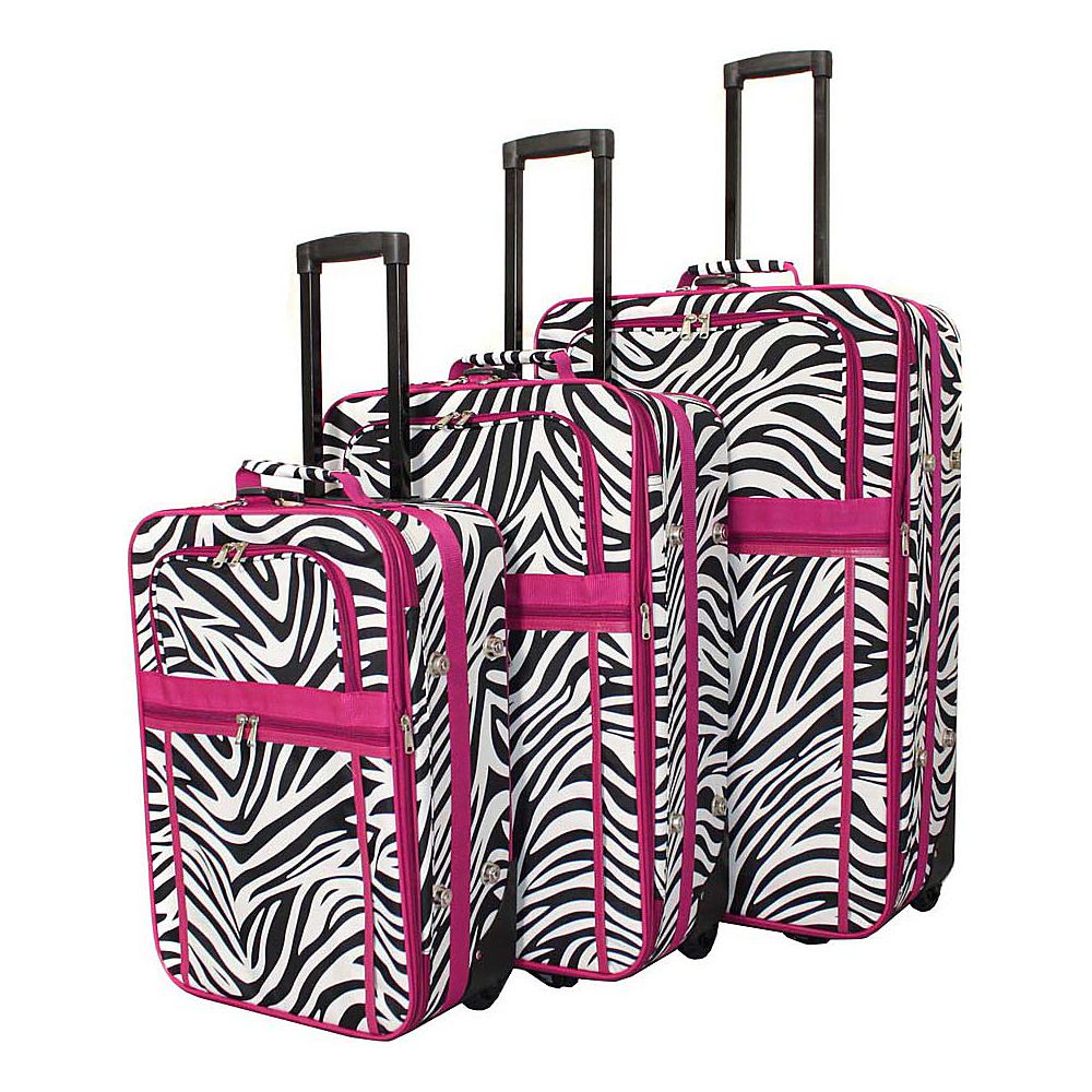 World Traveler Zebra 3-Piece Expandable Upright Luggage Set Pink Trim Zebra - World Traveler Luggage Sets - Luggage, Luggage Sets