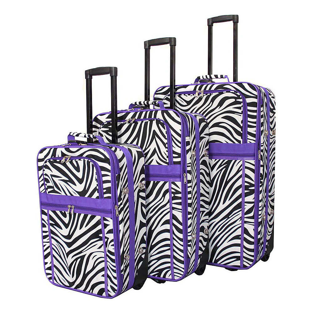 World Traveler Zebra 3-Piece Expandable Upright Luggage Set Light Purple Trim Zebra - World Traveler Luggage Sets - Luggage, Luggage Sets
