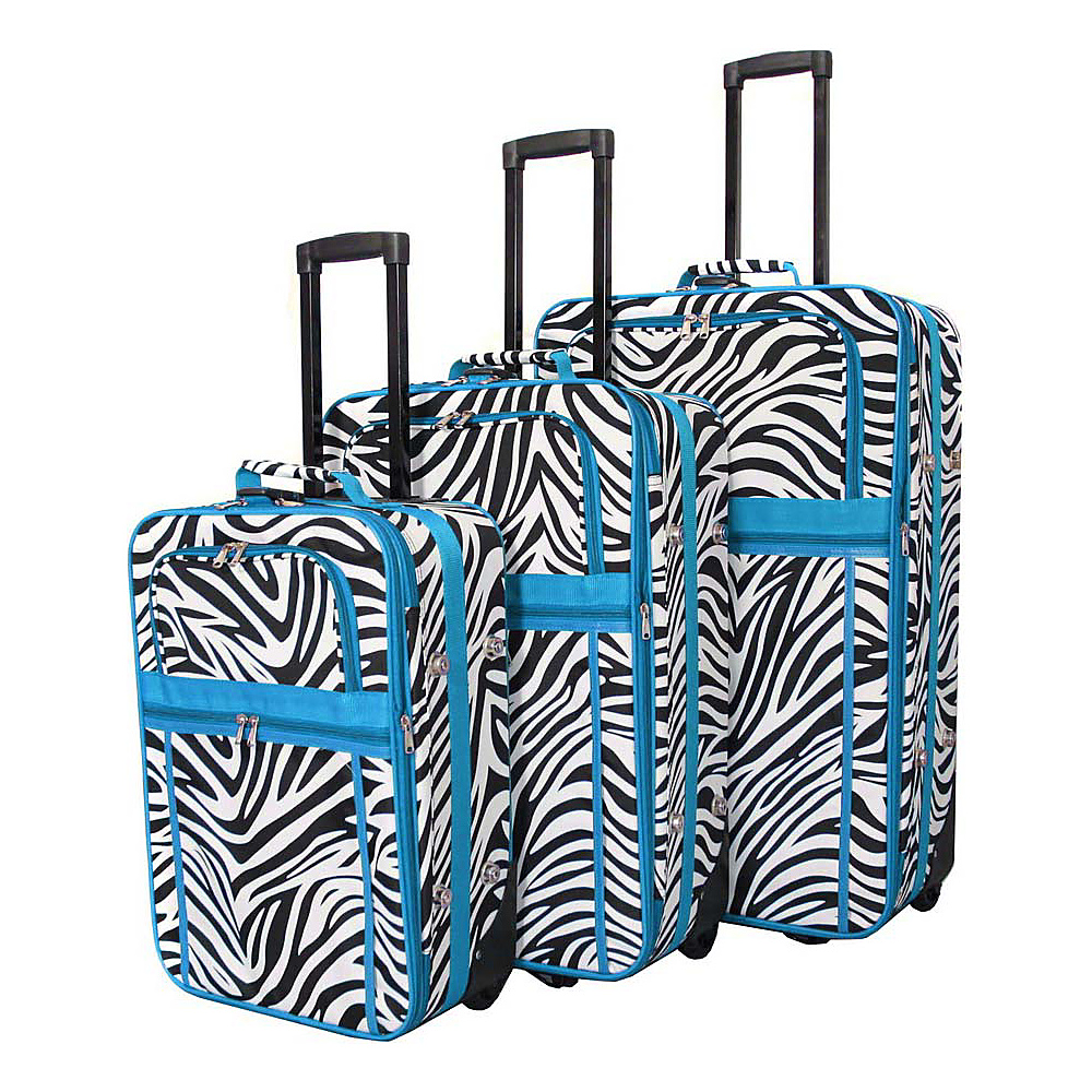 World Traveler Zebra 3-Piece Expandable Upright Luggage Set Teal Trim Zebra - World Traveler Luggage Sets - Luggage, Luggage Sets