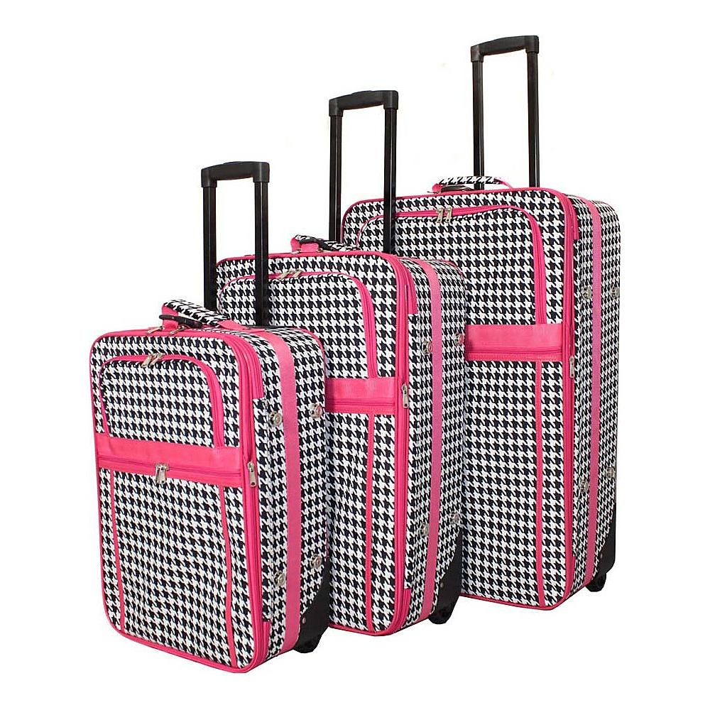 World Traveler Houndstooth 3-Piece Expandable Upright Luggage Set Fuchsia Trim Houndstooth - World Traveler Luggage Sets - Luggage, Luggage Sets