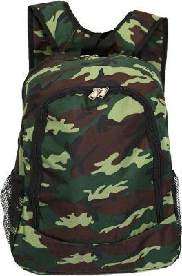 World Traveler Camouflage 16 inch Multipurpose Backpack Green Camo - World Traveler Everyday Backpacks