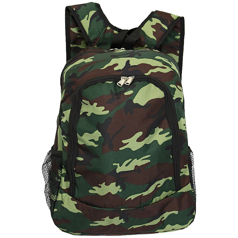 "World Traveler Camouflage 16"" Multipurpose Backpack Green Camo - World Traveler Everyday Backpacks"