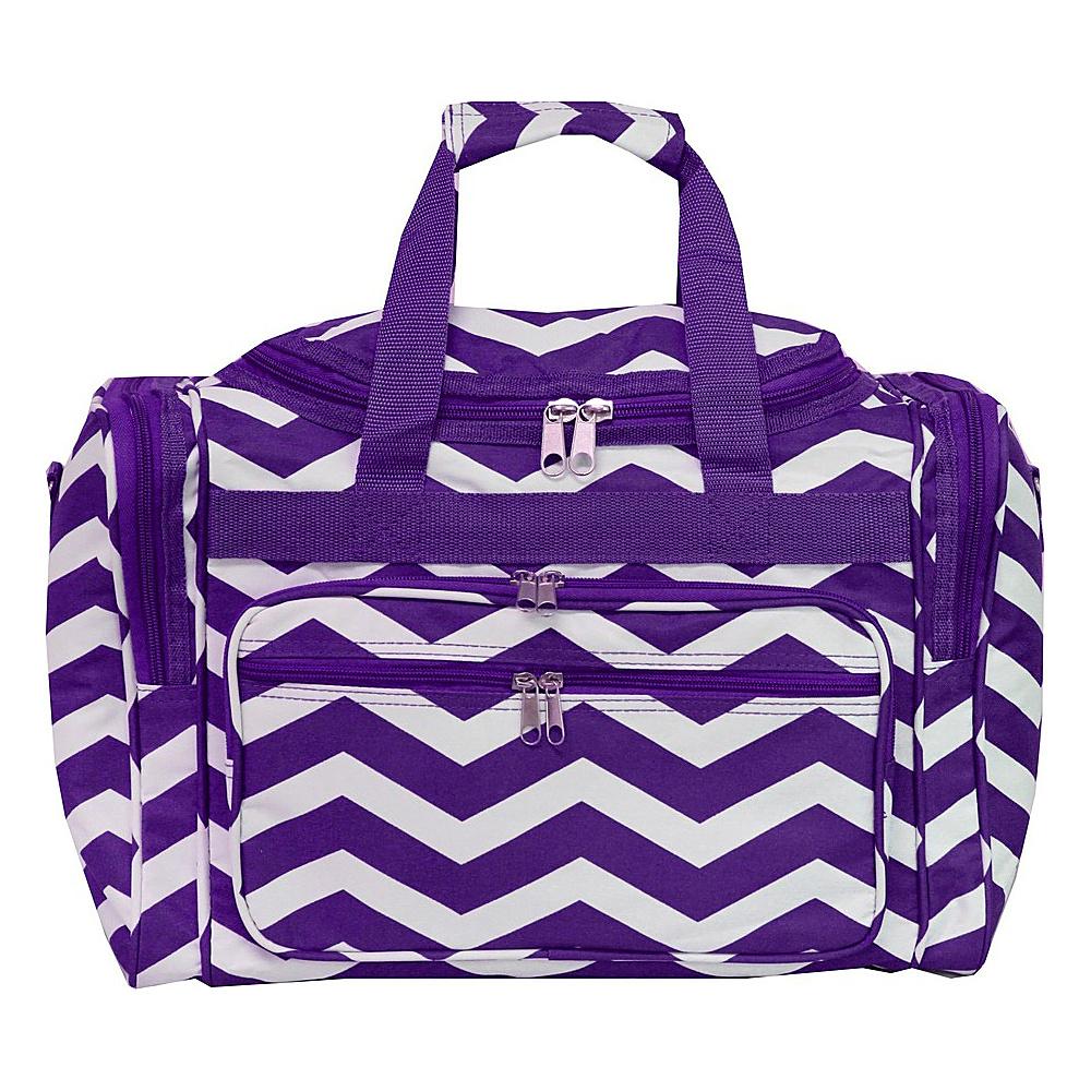 World Traveler Chevron 16 Shoulder Duffle Bag Purple White Chevron - World Traveler Rolling Duffels - Luggage, Rolling Duffels