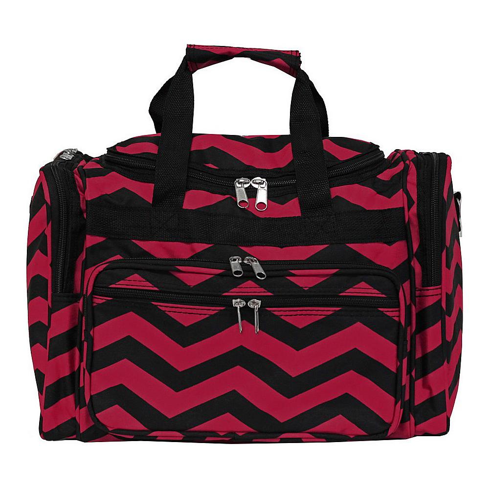 World Traveler Chevron 16 Shoulder Duffle Bag Fuchsia Black Chevron - World Traveler Rolling Duffels - Luggage, Rolling Duffels