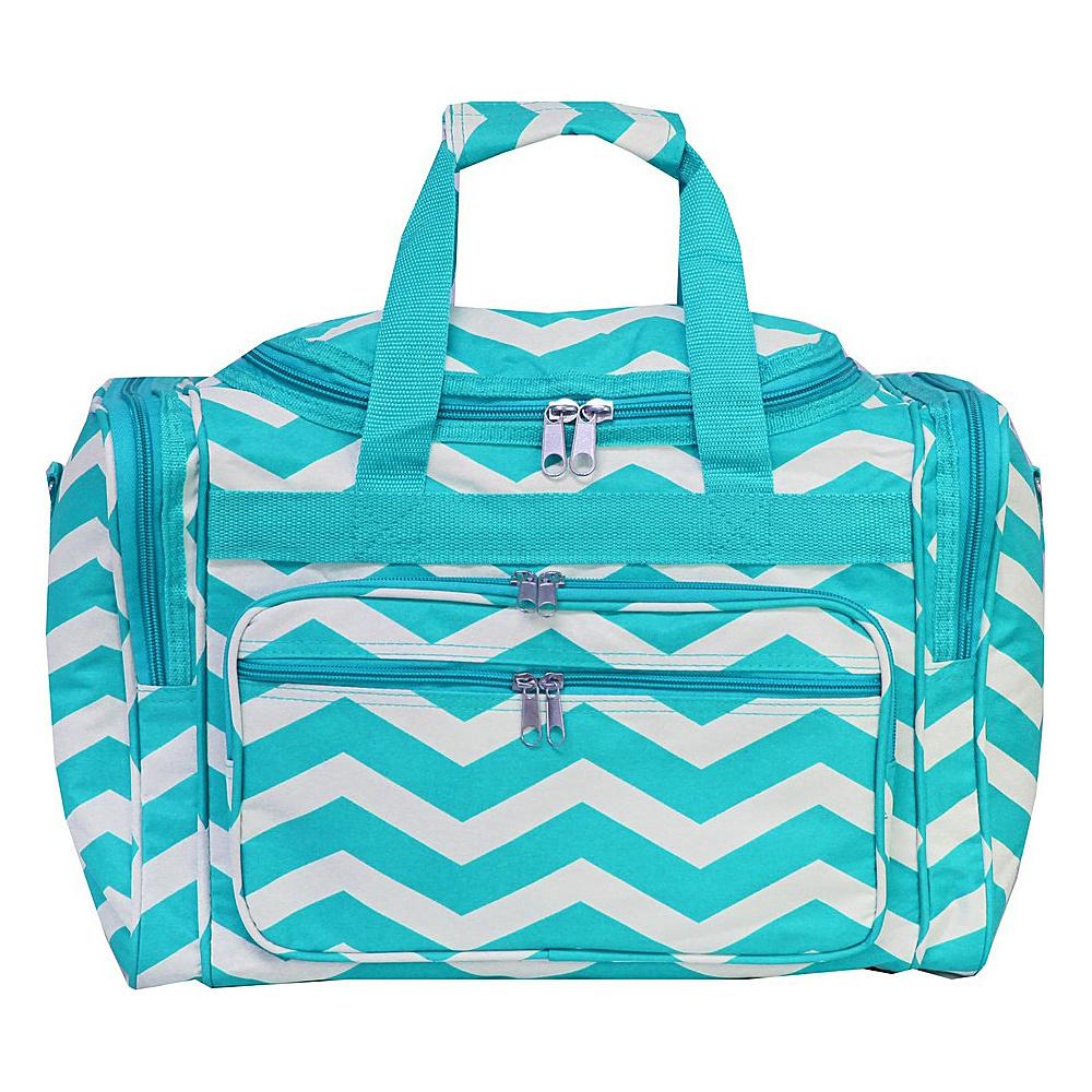 World Traveler Chevron 16 Shoulder Duffle Bag Blue White Chevron - World Traveler Rolling Duffels - Luggage, Rolling Duffels
