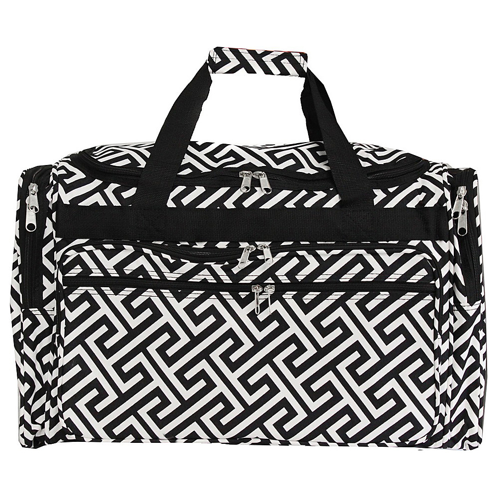 World Traveler Greek Key 22 Travel Duffle Bag Black White Greek Key - World Traveler Rolling Duffels - Luggage, Rolling Duffels