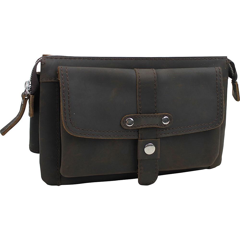 Vagabond Traveler Large Fashion Leather Waistpacks Dark Brown - Vagabond Traveler Waist Packs - Backpacks, Waist Packs