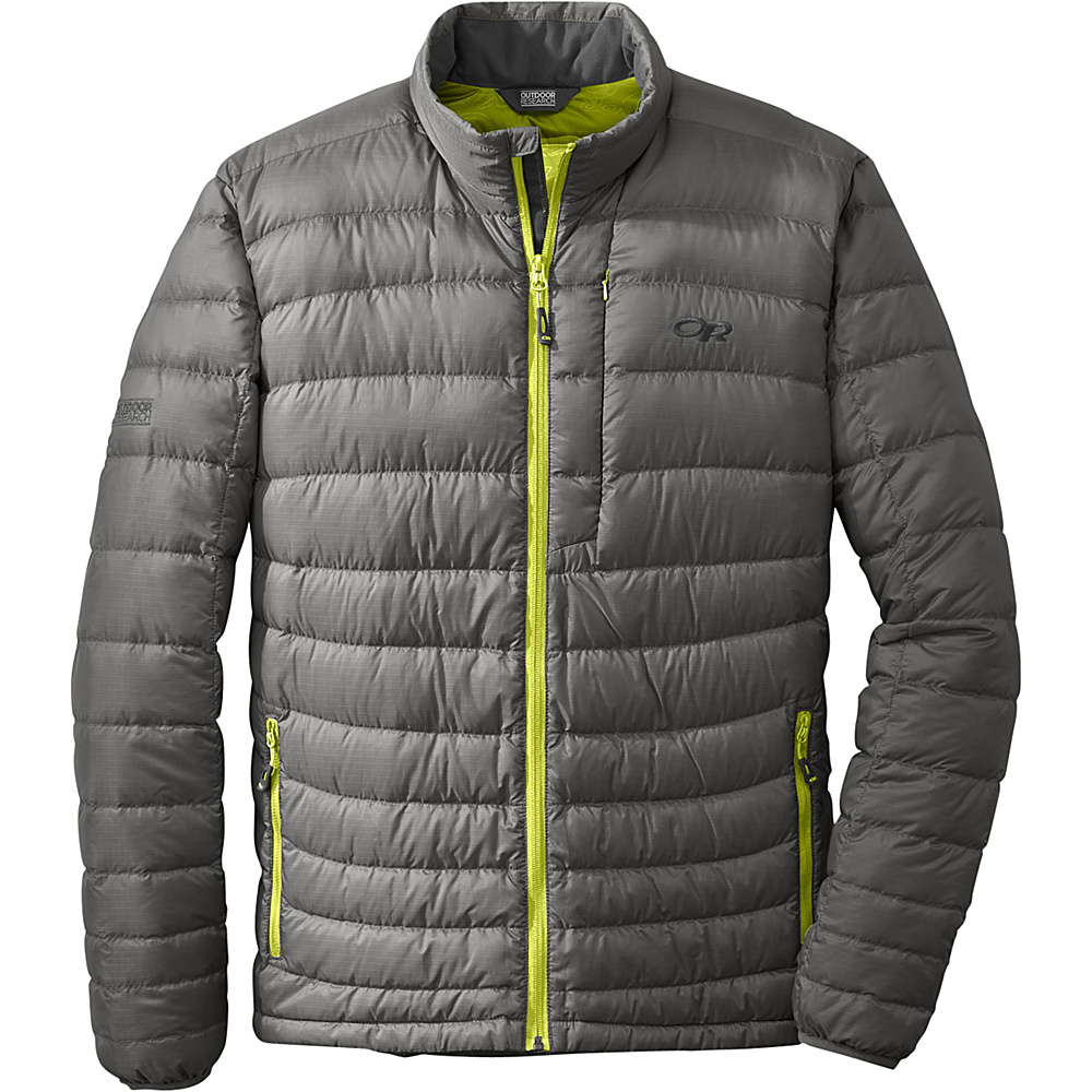 Outdoor Research Mens Transcendent Sweater M - Pewter/Lemongrass - Outdoor Research Mens Apparel - Apparel & Footwear, Men's Apparel
