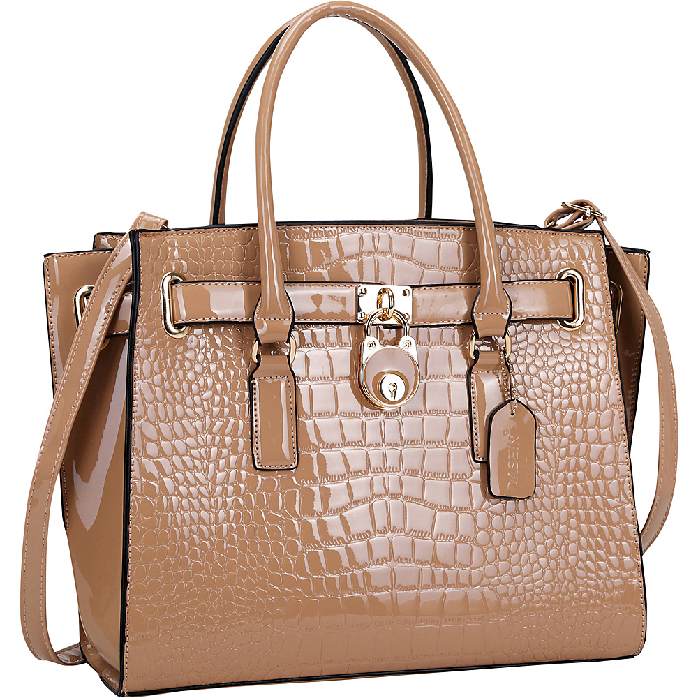 Dasein Patent Croco Embossed Faux Leather Belted Medium Tote Light Pink - Dasein Manmade Handbags - Handbags, Manmade Handbags