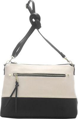 Emilie M Cheri Top Zipper Crossbody Ivory/Black - Emilie M Leather Handbags
