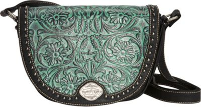 Montana West Tooled Crossbody Black/Turquoise - Montana West Manmade Handbags