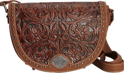 Montana West Tooled Crossbody Brown - Montana West Manmade Handbags