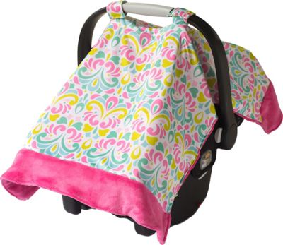 Itzy Ritzy Cozy Happens Infant Car Seat Canopy & Tummy Time Mat Brocade Splash with Hot Pink Minky Dot - Itzy Ritzy Diaper Bags & Accessories