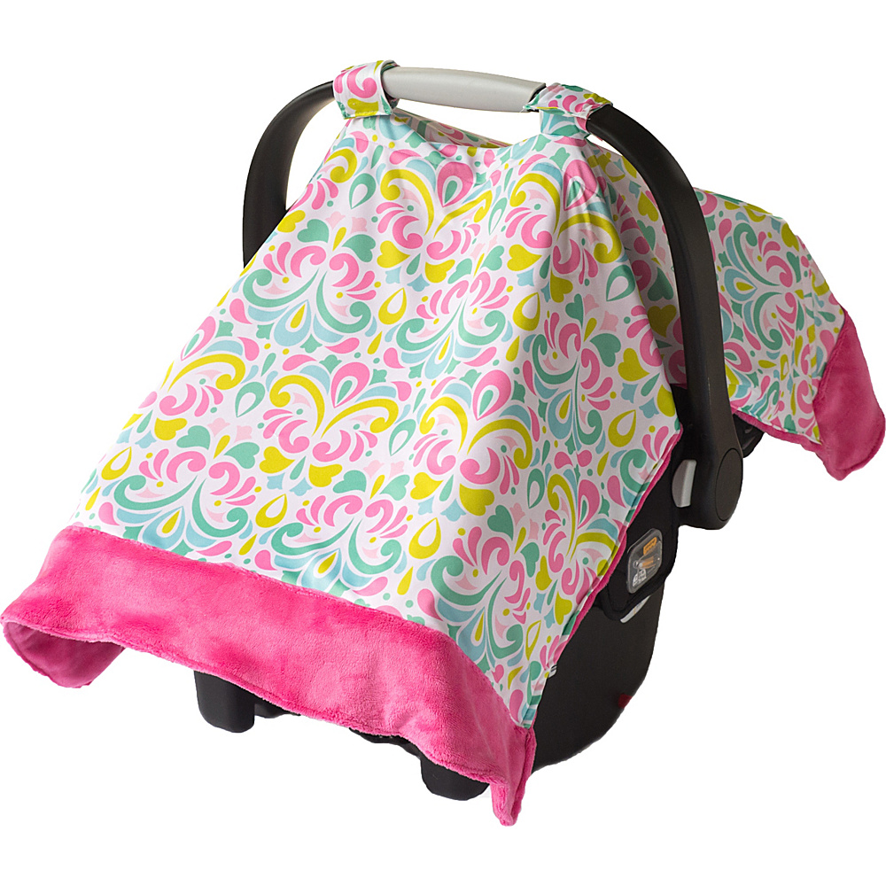 Itzy Ritzy Cozy Happens Infant Car Seat Canopy Tummy Time Mat Brocade Splash with Hot Pink Minky Dot Itzy Ritzy Diaper Bags Accessories