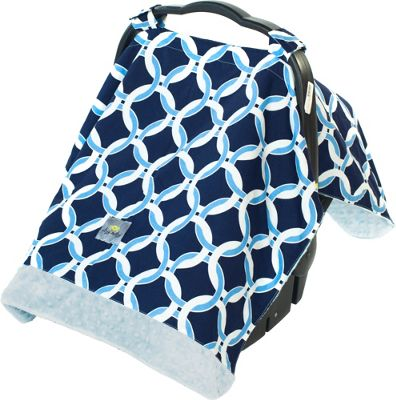 Itzy Ritzy Cozy Happens Infant Car Seat Canopy & Tummy Time Mat Social Circle Blue with Blue Minky Dot - Itzy Ritzy Diaper Bags & Accessories