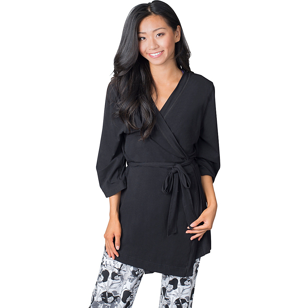 Soybu Stretch Cotton Modal Spa Robe L XL Black Soybu Women s Apparel
