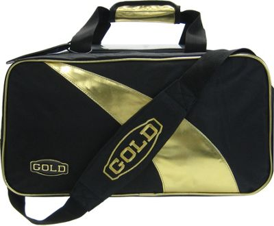 Elite Bowling Gold Double Tote Plus Bowling Bag Black/Gold - Elite Bowling Bowling Bags