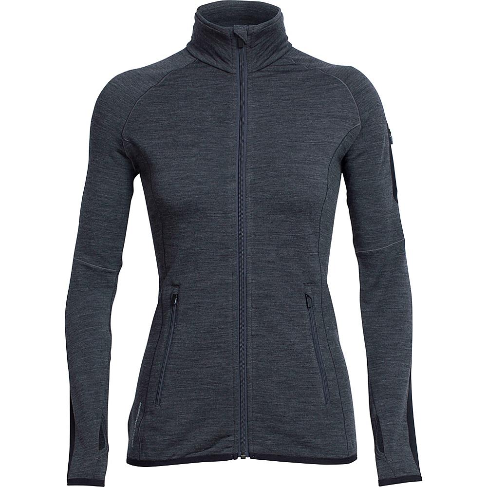 Icebreaker Womens Atom LS Zip Jacket S - Jet HTHR - Icebreaker Womens Apparel - Apparel & Footwear, Women's Apparel