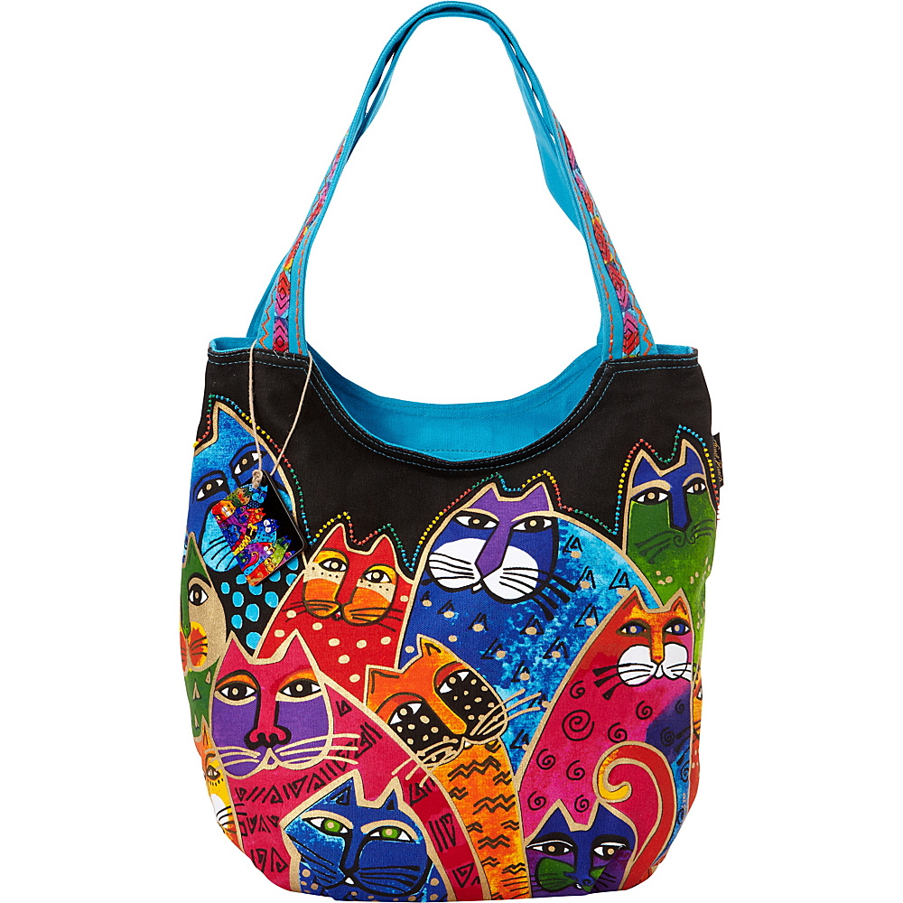 Laurel Burch Whiskered Family Scoop Tote Whiskered Family Laurel Burch Fabric Handbags