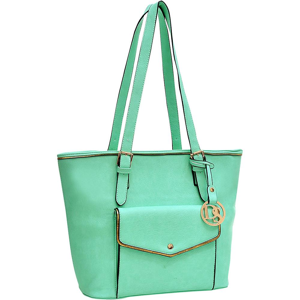 Dasein Envelope Tote with Emblem Green - Dasein Manmade Handbags - Handbags, Manmade Handbags
