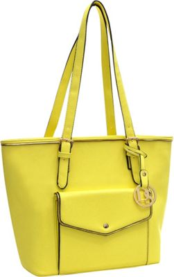 Dasein Envelope Tote with Emblem Yellow - Dasein Manmade Handbags