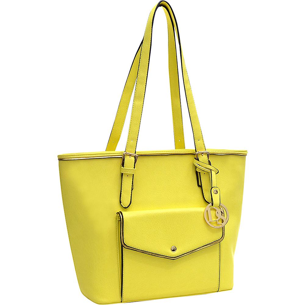 Dasein Envelope Tote with Emblem Yellow - Dasein Manmade Handbags - Handbags, Manmade Handbags