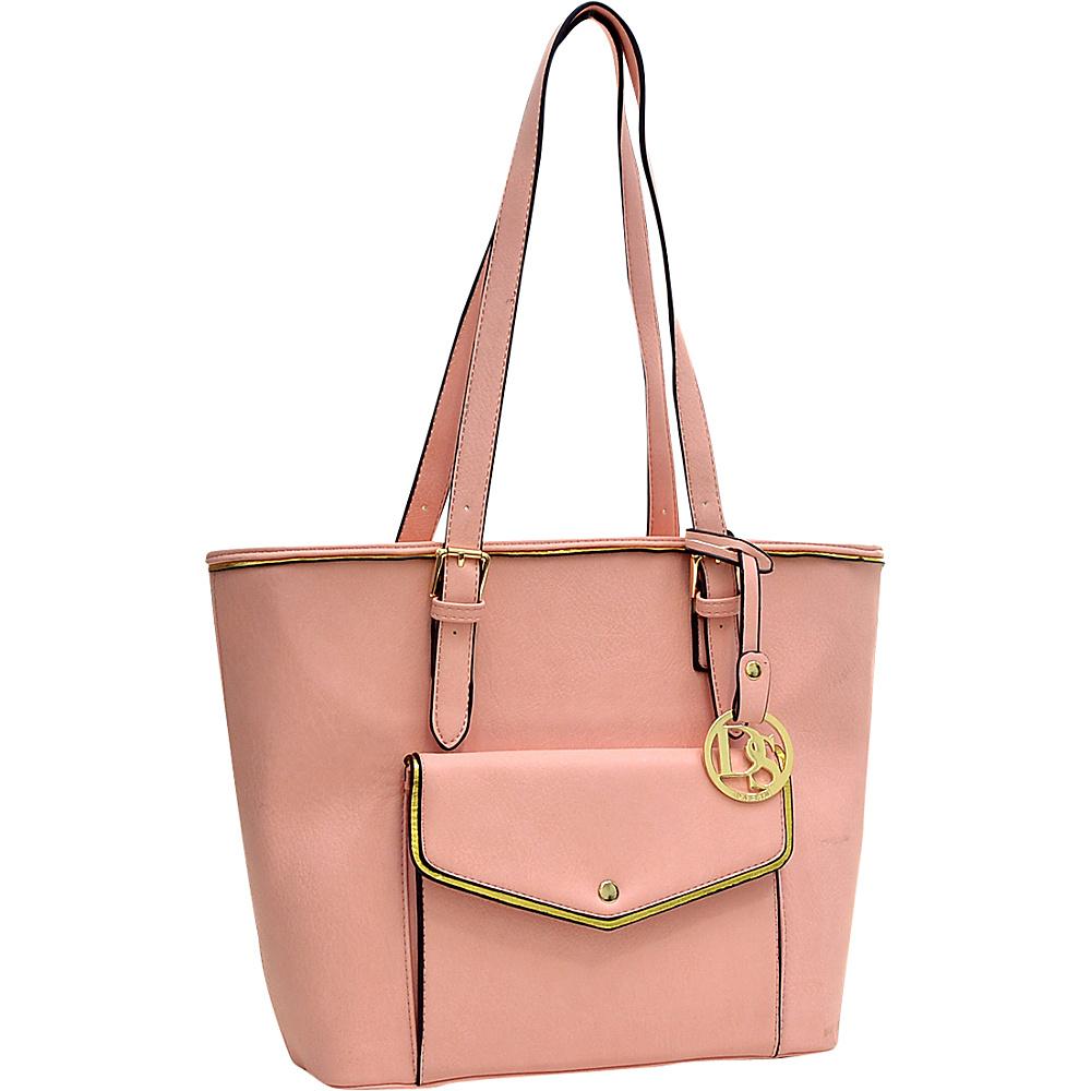 Dasein Envelope Tote with Emblem Pink - Dasein Manmade Handbags - Handbags, Manmade Handbags