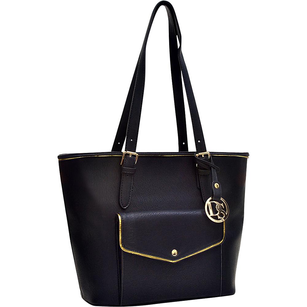 Dasein Envelope Tote with Emblem Black - Dasein Manmade Handbags - Handbags, Manmade Handbags