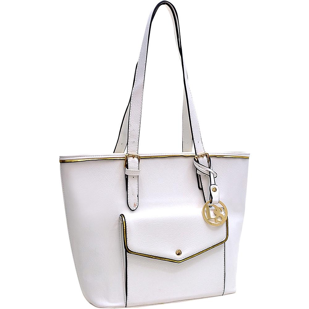 Dasein Envelope Tote with Emblem White - Dasein Manmade Handbags - Handbags, Manmade Handbags