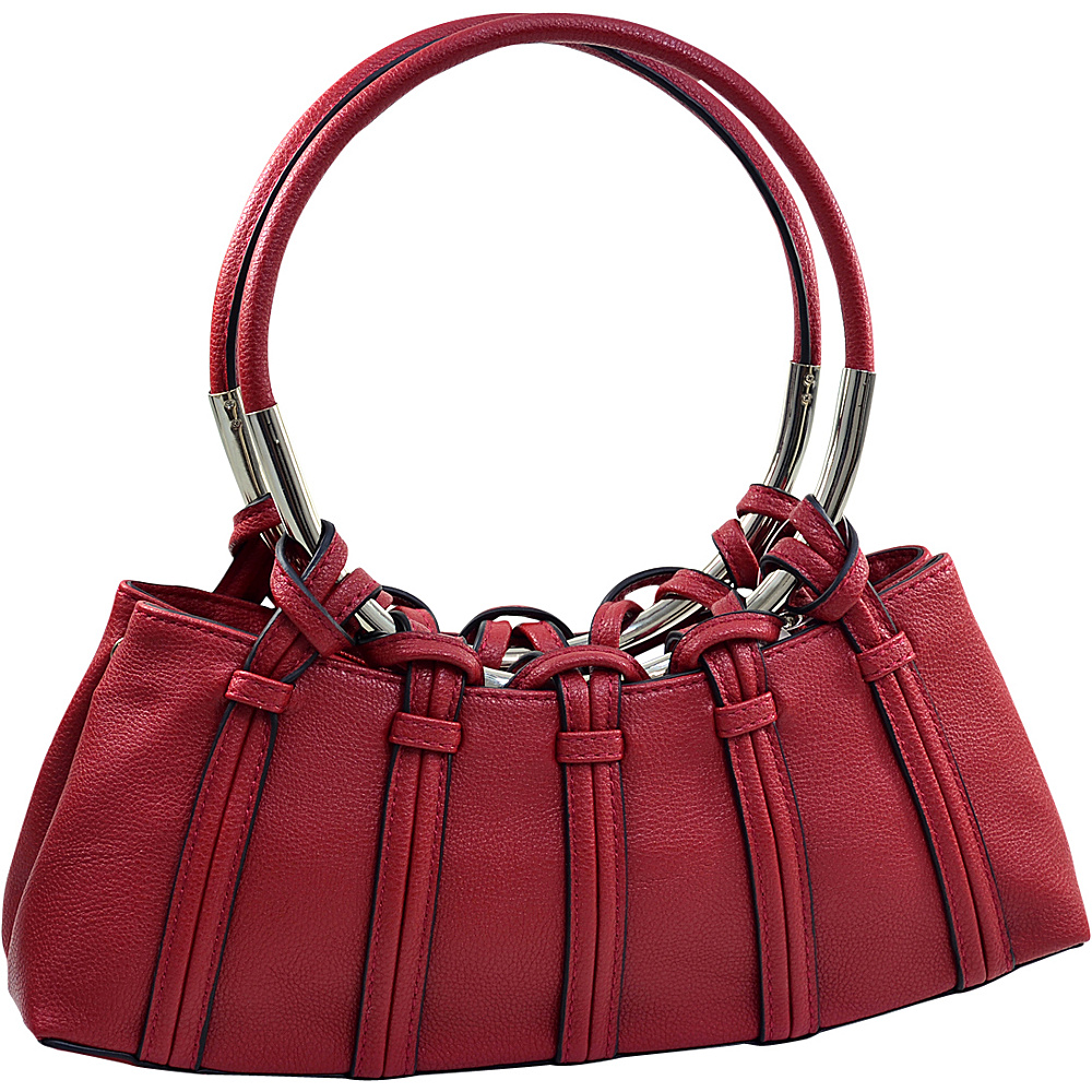 Dasein Dual Ring Strap Shoulder Bag Red - Dasein Manmade Handbags - Handbags, Manmade Handbags