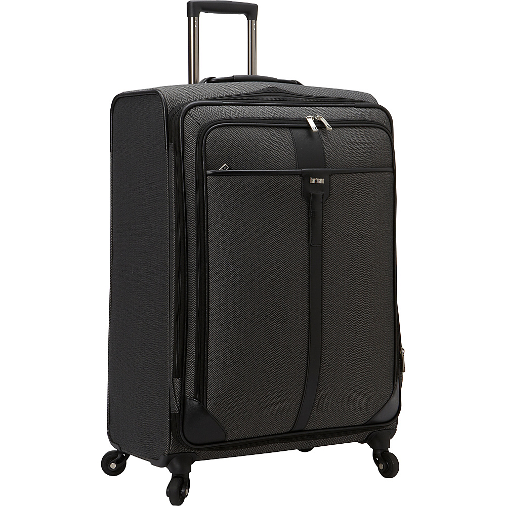 Hartmann Luggage Herringbone Luxe Softside Long Journey Expandable Spinner Black Herringbone Hartmann Luggage Softside Checked