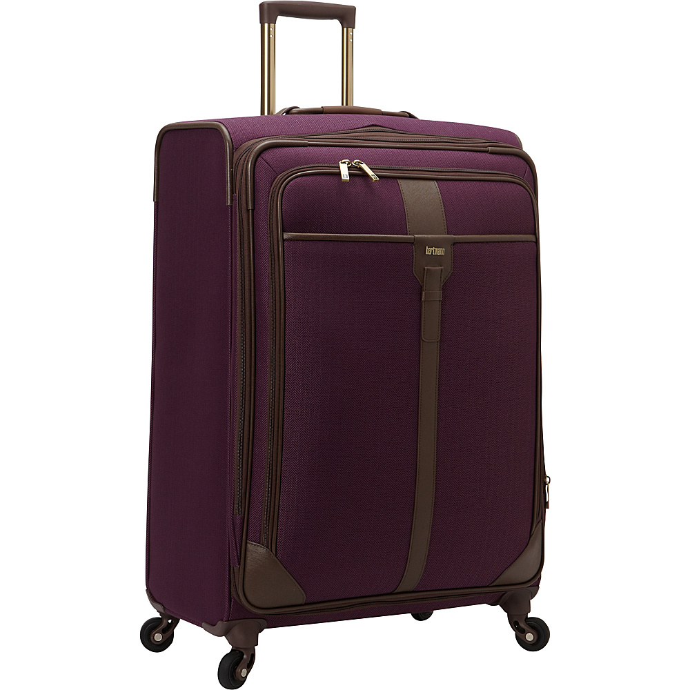 Hartmann Luggage Herringbone Luxe Softside Long Journey Expandable Spinner Eggplant Herringbone - Hartmann Luggage Large Rolling Luggage