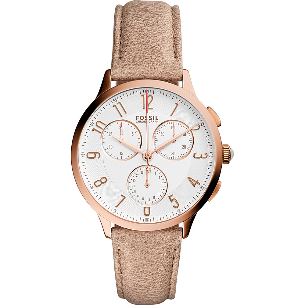 Fossil Abilene Chronograph Leather Watch Beige - Fossil Watches - Fashion Accessories, Watches