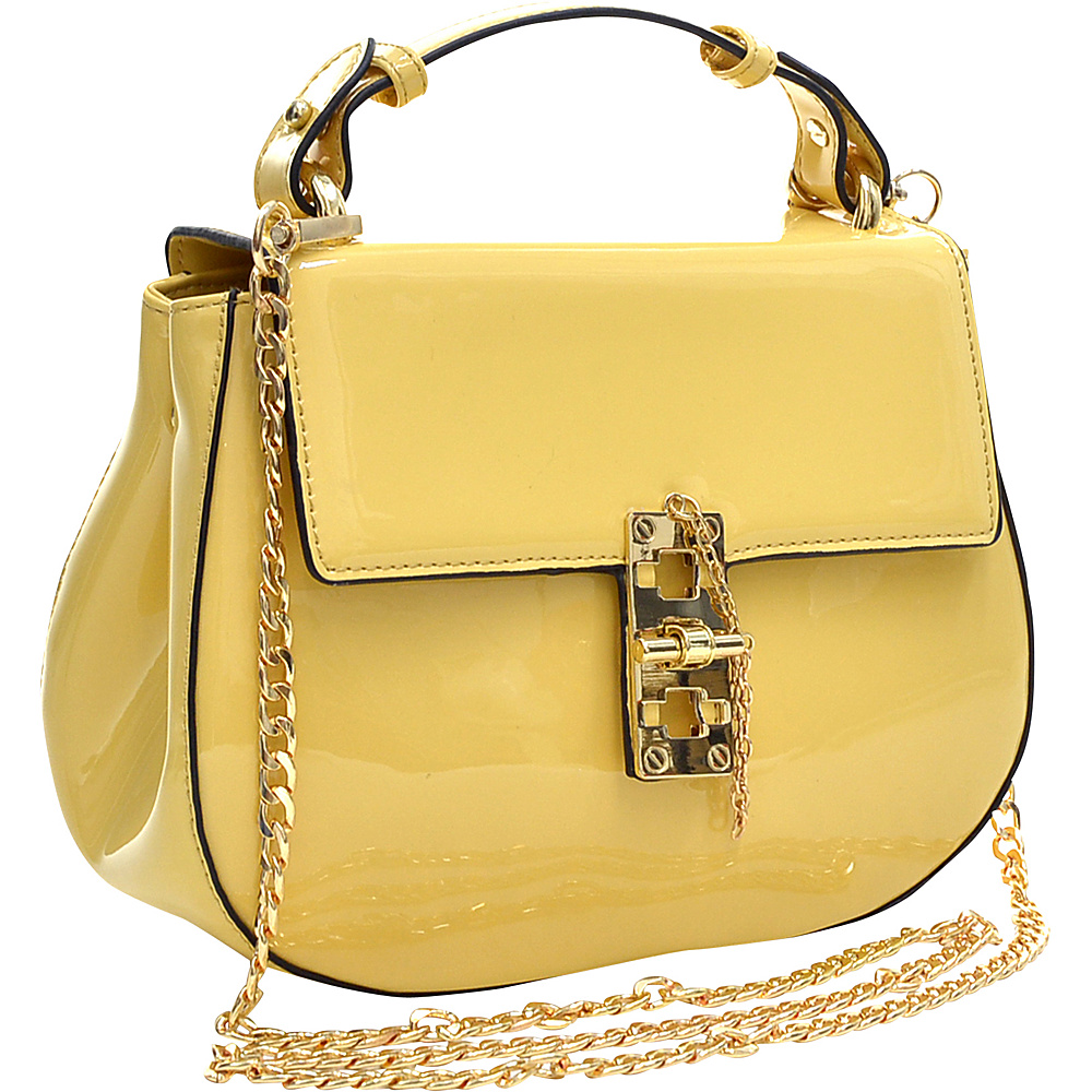 Dasein Patent Faux Leather Crossbody Yellow - Dasein Manmade Handbags - Handbags, Manmade Handbags