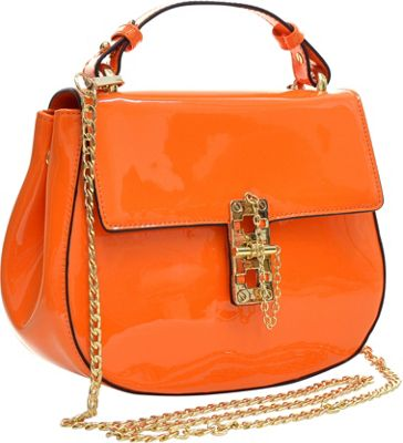 Dasein Patent Faux Leather Crossbody Orange - Dasein Manmade Handbags