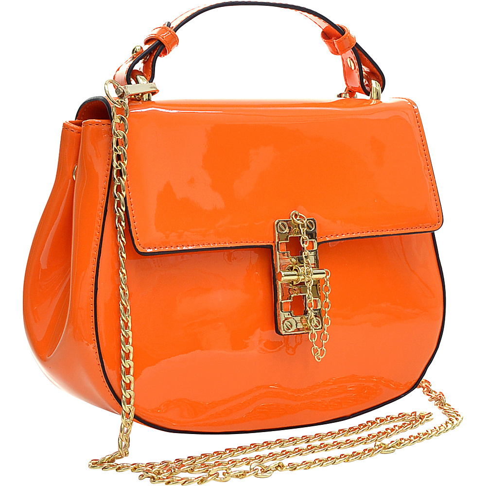 Dasein Patent Faux Leather Crossbody Orange - Dasein Manmade Handbags - Handbags, Manmade Handbags