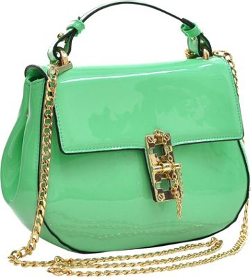 Dasein Patent Faux Leather Crossbody Mint Green - Dasein Manmade Handbags