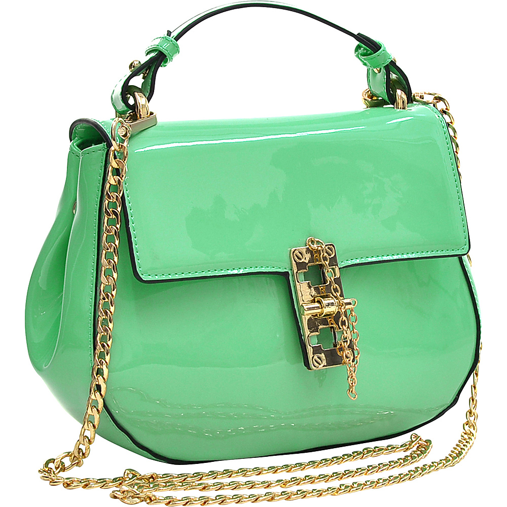 Dasein Patent Faux Leather Crossbody Mint Green - Dasein Manmade Handbags - Handbags, Manmade Handbags