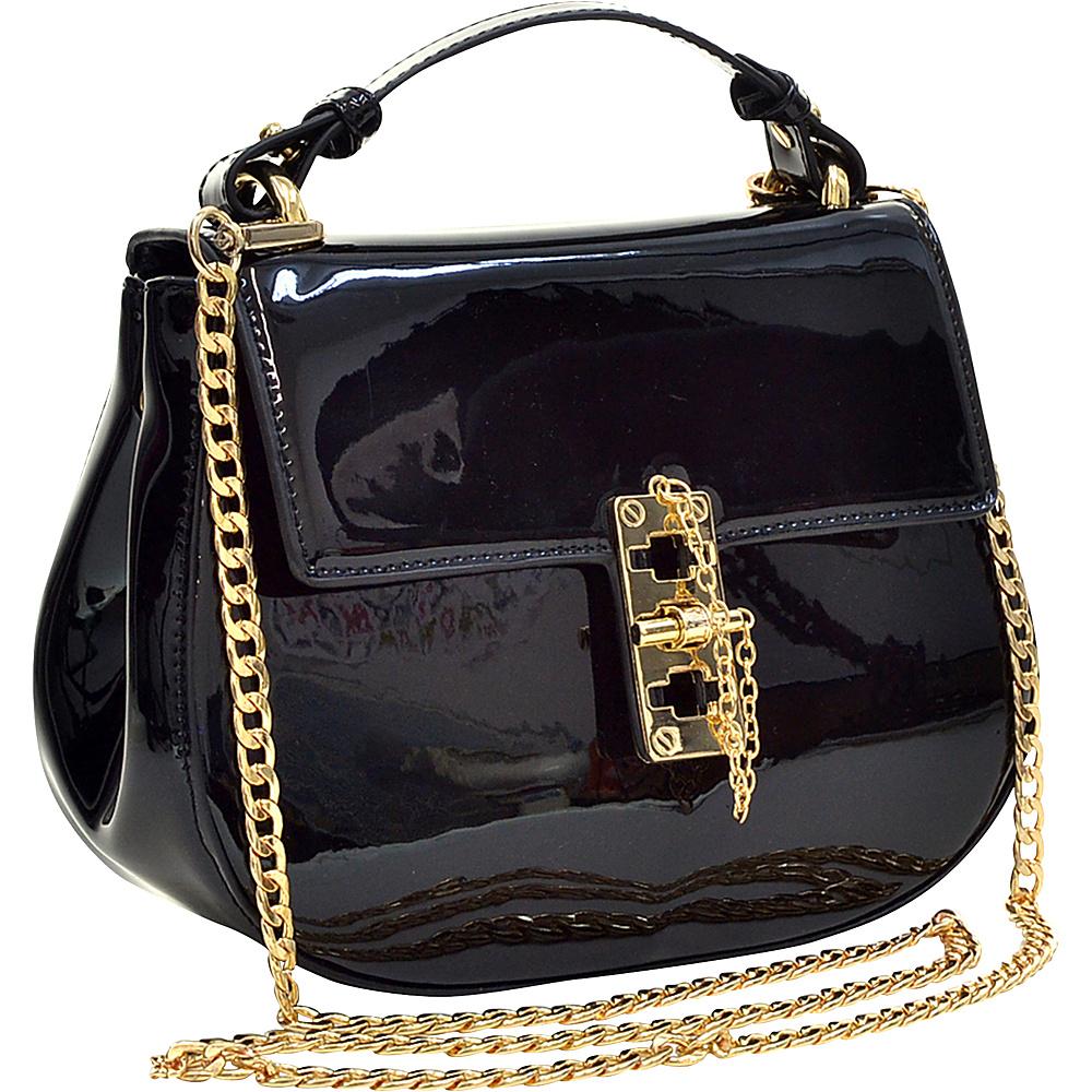 Dasein Patent Faux Leather Crossbody Black - Dasein Manmade Handbags - Handbags, Manmade Handbags