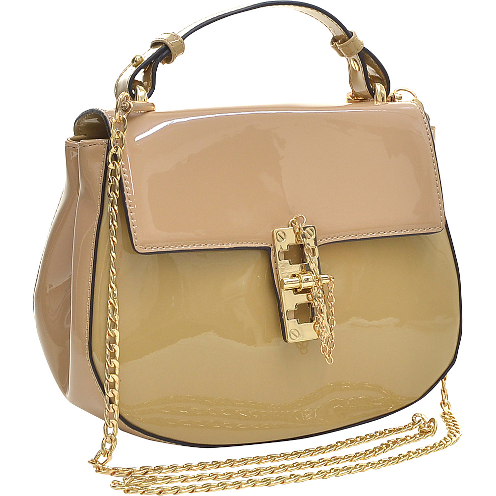 Dasein Patent Faux Leather Crossbody Beige - Dasein Manmade Handbags - Handbags, Manmade Handbags