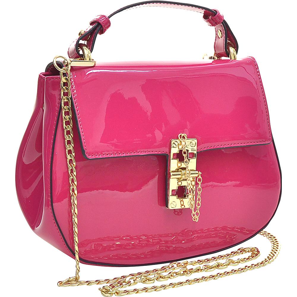 Dasein Patent Faux Leather Crossbody Fuchsia - Dasein Manmade Handbags - Handbags, Manmade Handbags