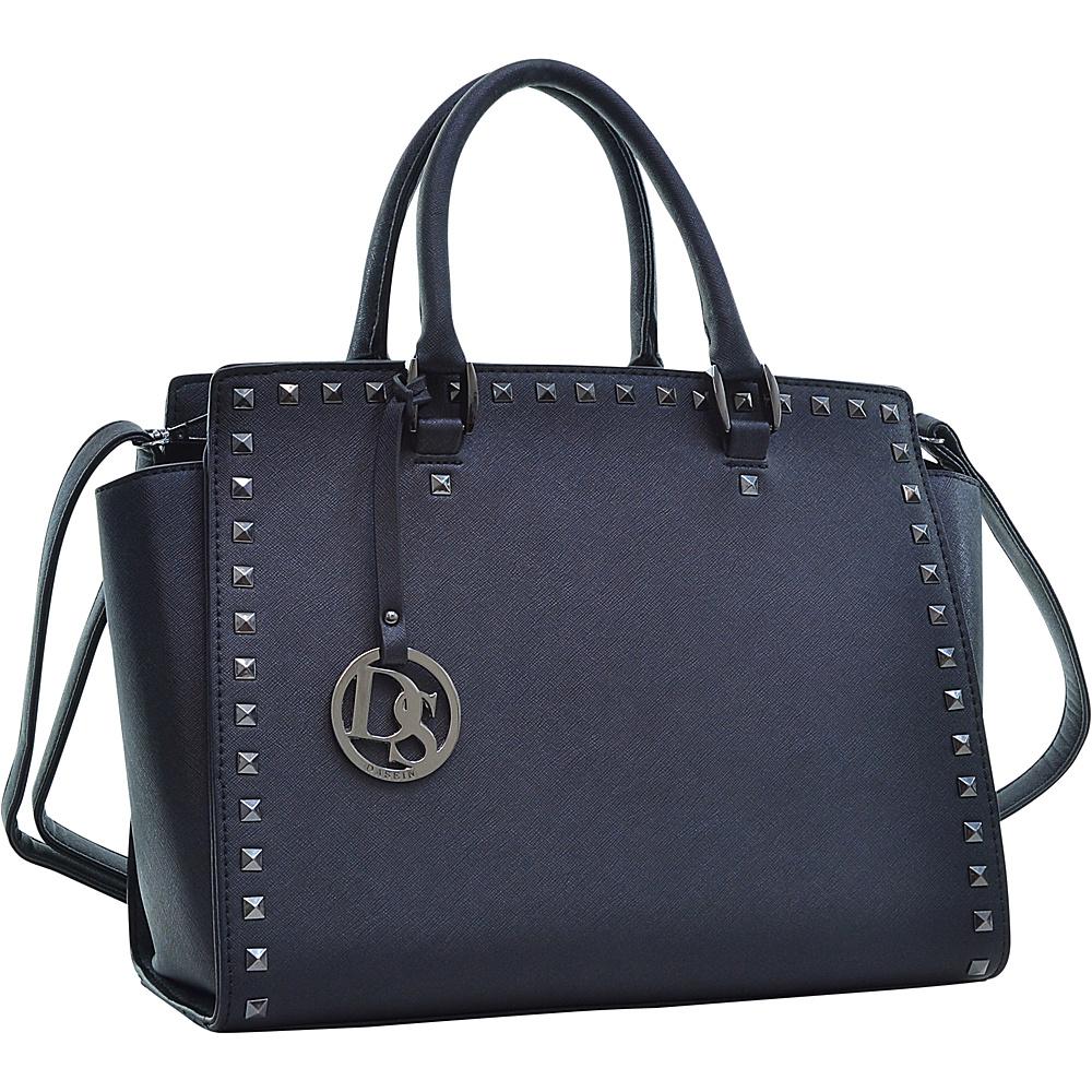 Dasein Saffiano Faux Leather Gunmetal Studded Satchel Black - Dasein Manmade Handbags - Handbags, Manmade Handbags