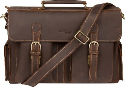 Image of Access Denied Men's RFID Blocking Messenger Bag Leather 'Eagle' Brown - Access Denied Non-Wheeled Business Cases