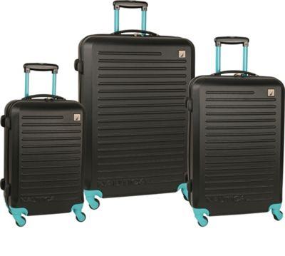 Nautica Tide Beach 3 Piece Hardside Set Black/Baltic Teal - Nautica Luggage Sets
