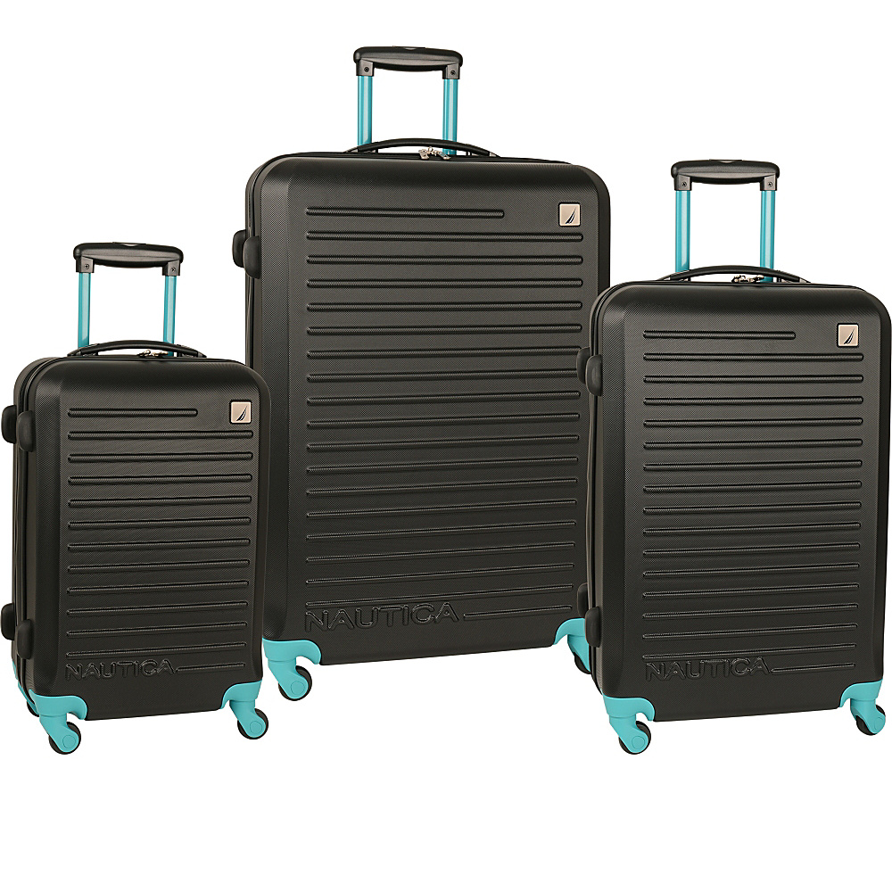 Nautica Tide Beach 3 Piece Hardside Set Black/Baltic Teal - Nautica Luggage Sets