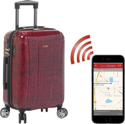 Planet Traveler USA USA Smart Tech Case 23 inch Check In Red - Planet Traveler USA Hardside Checked