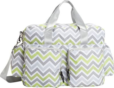 Trend Lab Green, Gray, and White Chevron Deluxe Duffle Diaper Bag Green/Gray/White - Trend Lab Diaper Bags & Accessories