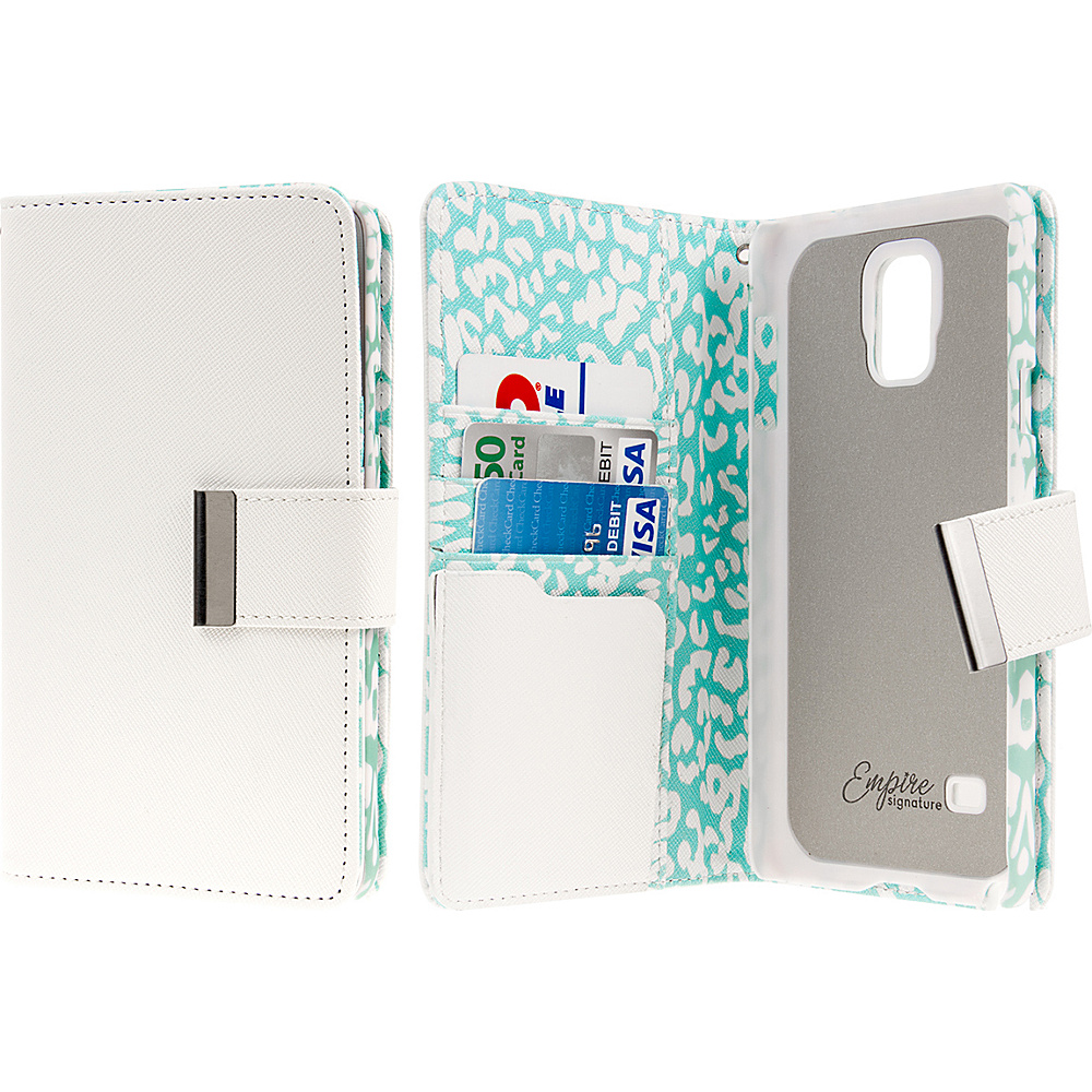 EMPIRE KLIX Klutch Designer Wallet Case Samsung Galaxy Note 4 Mint Leopard EMPIRE Electronic Cases