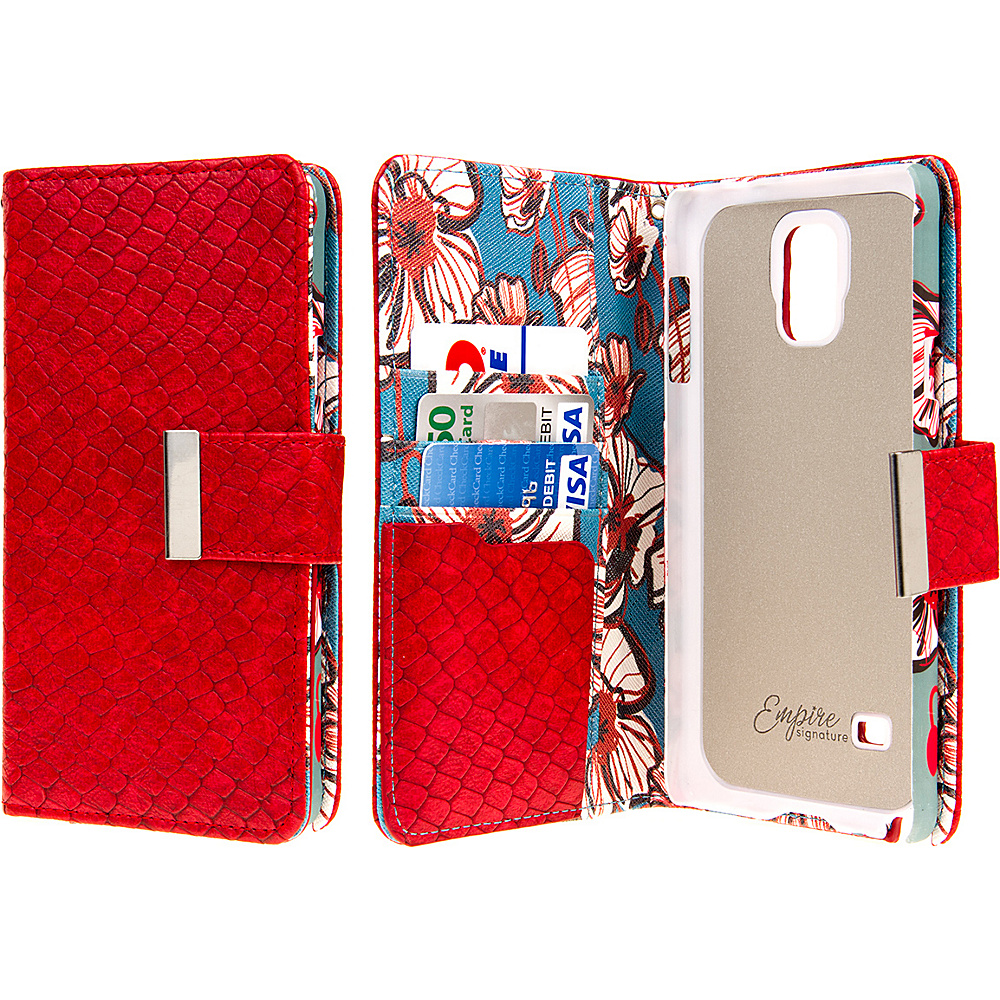 EMPIRE KLIX Klutch Designer Wallet Case Samsung Galaxy Note 4 Bold Teal Floral EMPIRE Electronic Cases